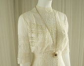 Antique Handmade 1900 Tea Length Vintage Cotton Batiste and Lace Insets Wedding Day Dress