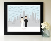 Wedding Guest Book Alternative - Custom Wedding Portrait GuestBook - City Silhouette - New York - San Francisco - Any Two Cities