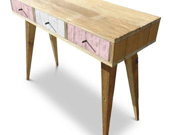 Flash Sale! Modern Mid Century Retro Danish Scandinavian Shabby Chic Eco Recycled Pastel Blush Pink & White Console / Desk / Dressing Table