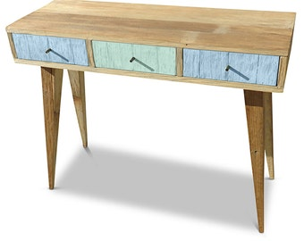 Flash Sale! Modern Mid Century Retro Danish Scandinavian Shabby Chic Eco Recycled Baby Blue & Teal Jade Green Desk Console / Dressing Table