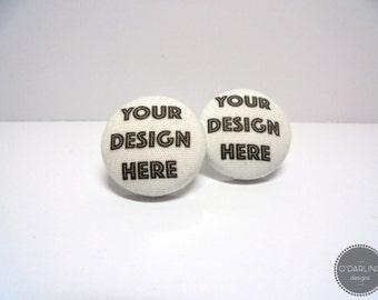 CUSTOM DESIGN Fabric Button Earrings