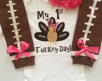 Baby girl Thanksgiving outfit - Football turkey- thanksgiving legwarmers - fall baby girl outfit - newborn preemie- My 1st Thanksgiving