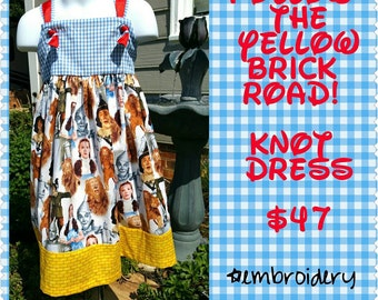 Wizard of Oz inspired Knot Dress with Monogram included in Price / Boutique Girls Clothing / yellow brick road / ruby slippers / dorothy