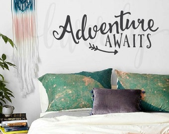 Adventure Awaits, Saying,  Vinyl Decal- Wall lettering, Urban Decor, Arrow