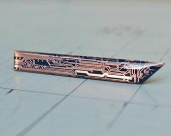 Modern Industrial Tie Clip - Geometric Geek Blue Copper Tie Clip Bar - Mens Tie Accessory