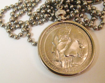 Mount Rushmore Coin Necklace with Stainless Steel Ball Chain - 2013 - South Dakota - National Park Quarters