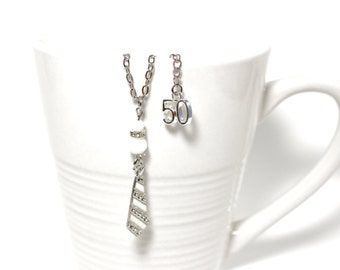 Tie necklace and white glass of my collection inspired by the trilogy Fifty shades of Grey (Fifty Shades) EL James