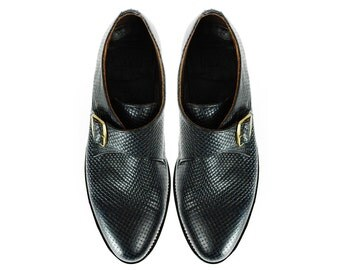 GINSBERG Single Monk Shoes Dark Blue Woven Leather Embossing GOODYEAR Welted. (All Sizes)