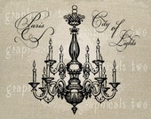Chandelier Paris City of Lights Instant digital download image for iron on fabric transfer burlap decoupage pillow card tote No. gt144