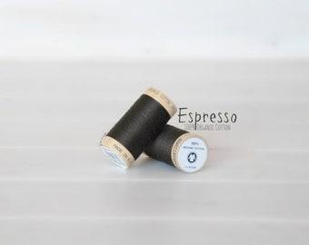 Organic Cotton Thread GOTS - 300 Yards Wooden Spool  - Thread Color Espresso - No. 4830 - Eco Friendly Thread - 100% Organic Cotton
