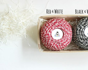 Bakers Twine 300 Yards Ball  - 100% Cotton Twine Red & White - Red Twine - Black Twine - Cotton Twine - 10ply Baker's Twine - Thick Twine