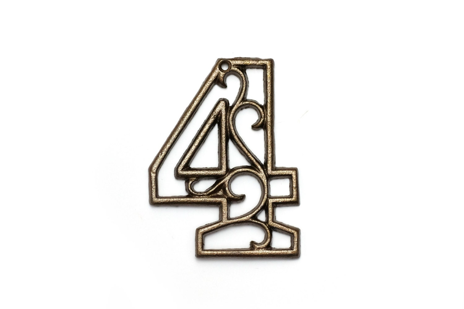 four cast iron house number 4 aged brass wall decor decorative. Black Bedroom Furniture Sets. Home Design Ideas