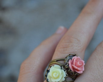 Pink rose ring, romantic vintage style, pink flower ring, pink floral ring
