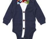 Cardigan Onesie and Bow Tie Set - Navy with Madras Multicolor Plaid - Trendy Baby Boy