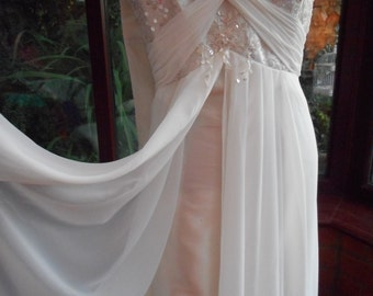 wedding dress white layered chiffon over satin skirt pleated sequin pearl trimmed shaped boned corset top size uk16 and usa size12