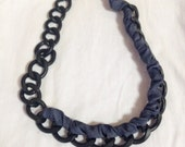 Rocker Denim Wrapped Black Chain Oversized Necklace with Charm, Handmade Jewelry by Dreambuzzer on Etsy