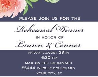 Floral Rehearsal Dinner Invitation