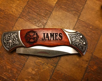 Personalized Laser Engraved Maltese Cross Knife