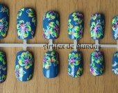 Handpainted Fake Nails Prom or Holiday Design (neon hibiscuses on a blue background)