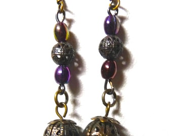 Vintage purple iris glass beads with brass filagree beads earrings