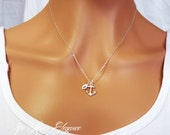 Gold or silver personalized initial and anchor necklace. Dainty anchor necklace. Simple and elegant