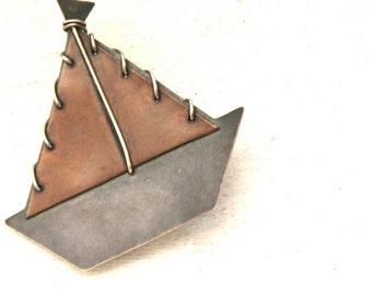 sailing boat brooch- sterling silver 925 brooch
