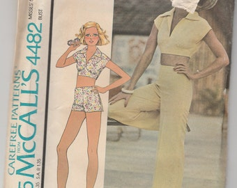 McCalls Carefree Pattern 4482 Vintage Top and Pants or Shorts Size 12 - Factory Folded Uncut