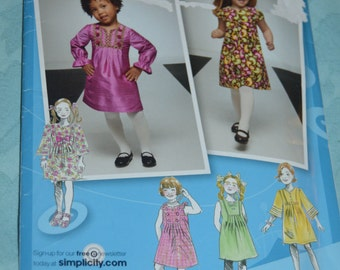 Simplicity 2320 Toddlers and CHilds Dress With Sleeve and Trim Variations Sewing Pattern - UNCUT - Sizes 1/2 1 2 3