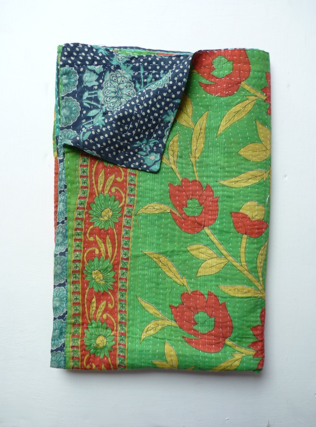 Green Kantha Quilt Boho Throw Blanket Vintage Blanket