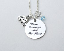 SALE - Have Courage And Be Kind Necklace, Cinderella Charm Necklace, Fairytale Carriage , Gift For Her, Disney Inspired, Under 20 , ST40