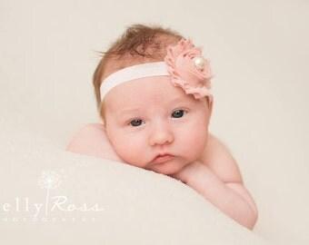 FREE SHIPPING! Pink Shabby Chic Headband, Pink Headbands, Newborn Headbands, Photography Props, Baby Headbands