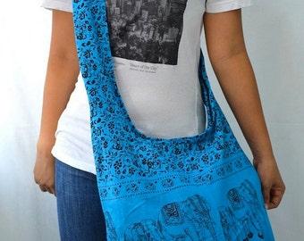 Elephant Bag Hippie Hobo Bag Sling Crossbody Bag Boho Bag Shoulder Bag Messenger Bag Cotton Bag Purse Tote Bag Handbags, Medium Blue