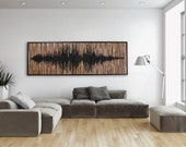 Wood wall art, abstract sound wave, Different Sizes Available.