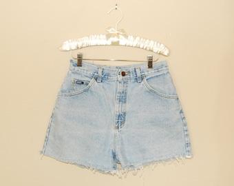 High-Waisted Light Blue Denim Cut-Off Shorts - Early 90s