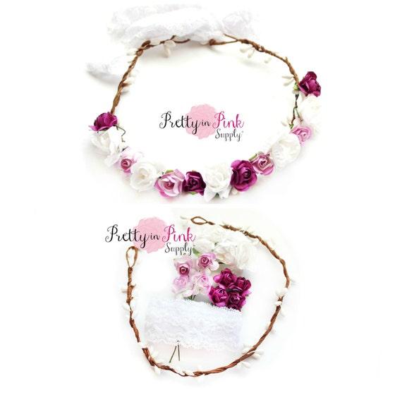 White Lilac Purple Floral Crown DIY Kit 130 Paper Flower