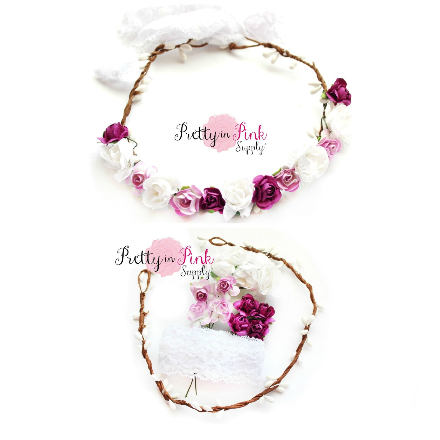 White Lilac Purple Floral Crown DIY Kit 130 Paper Flower