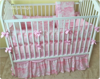 New Pink Animal Toile Crib Bedding Set -- Bumper Pad, Crib Skirt, Blanket, and Accent Pillow