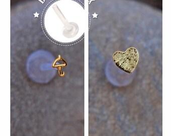 TRAGUS SET 16 GAUGE Umbrella & Heart 16 gauge/ 24k gold plated Labret /16 gauge/ BioFlex/tragus heart/ tragus earring/cartilage earring