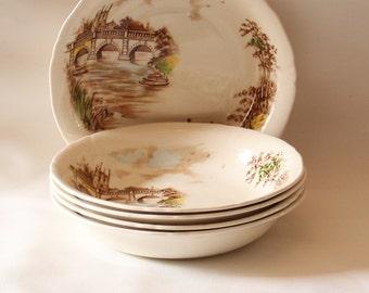 Five Large Bowls Vintage 1950's Alfred Meakin English Bridges Series