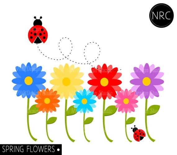SUMMER SALE Spring Flowers Garden Clip Art by NRCDesignStudio