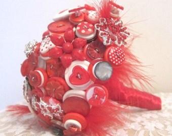 Red Button Bouquet - Pillar Box Red Bouquet - Vintage Button Bouquet