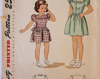 Girls Dress Pattern Vintage 1940s/1950s Girls Dress with Contrast Yoke Sewing Pattern Size 4 Simplicity 2065