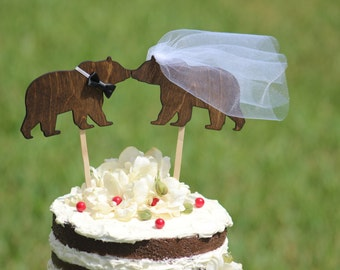 Bear Cake Topper Personalized - Cupcake Topper - Personalized Wedding -  shabby chic, outdoor, cottage chic