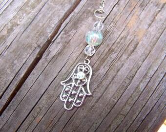 Iridescent Hamsa Hand Necklace