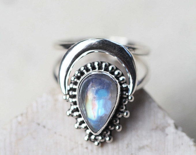 Rainbow Moonstone Ring, Boho Ring, Crescent Moon Ring, Gypsy Ring, Statement Rings, Solid 925 Sterling Silver Rings, Don Biu