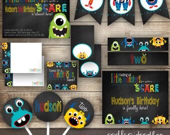 Little Monster Birthday, Little Monster 1st Birthday, Little Monster Party,  Boy's Birthday, Little Monster Invitation, Printable Party Kit