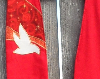 Red Clergy Stole with dove
