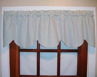 Scalloped Ticking Stripe Valance, Black, Blue, Tan, Gray, Aqua Shaped Window Valance, Kitchen Valance Curtains, Bedroom Valance, Beach Decor