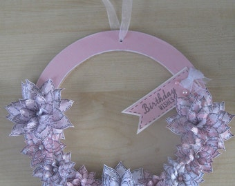Hand Decorated Mdf Pink 'Birthday Wishes' Floral Wreath 20cm **Free P&P**