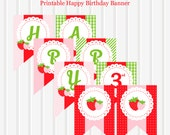 Strawberry Berry Sweet Personalized Printable Happy Birthday Banner by Marbella Printables